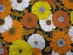Vintage Mod Huge Flower Power Print Fabric Sheet floral pattern mums daisies. $50.00, via Etsy.