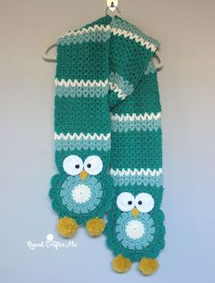 Owl Super Scarf   Size: 8 inch wide x 100 inches long  Materials: – Bernat Softee Chunky Yarn Emerald (5 skeins) Seagreen (2 skeins) Natural (1 skein) Glowing Gold (1 skein) White (1/2 skein) – optional… you can use natural for the owl eyes instead of white. – Size H crochet hook – 2 black buttons – Large tapestry needle