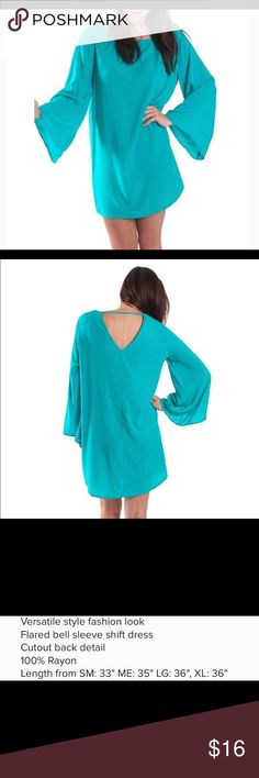 Turquoise Shift Dress with Flared Bell Sleeves Turquoise Shift Dress w/ flared bell sleeves and cut out back. Perfect for lunch or night out on the town boutique Dresses