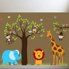 Favorite  Like this item?    Add it to your favorites to revisit it later.  Jungle Safari Tree Monkeys Elephant Giraffe Vinyl Wall Art Decals Nursery Kids Boys
