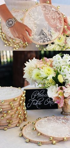Handmade lace-tambourine favors welcome wedding guests on the sweetest note. wedding ideas and tips. DIY wedding decor and flowers. Everything a DIY bride needs to have a fabulous wedding on a budget! Boho Wedding, Dream Wedding, Wedding Day, Wedding Music, Trendy Wedding, Wedding Beach, Wedding Rice, Beach Weddings, Wedding Signs