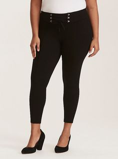 Slim Fix Pixie Pant - Black All-Nighter Ponte with a Faux Corset Waist, BLACK