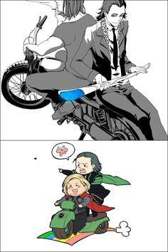 #Loki and #Thor on a bike! So cute! #Thorki