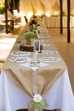 Best 10 Vintage inspired, beautiful and rustic burlap and lace table topper. * Six table toppers available have white lace and 3 have ivory lace) * 30 inches wide * 37 feet long * The lace strip down the center of each table topper is 2 inches wide * Ea Diy Wedding, Wedding Reception, Wedding Day, Table Wedding, Decor Wedding, Burlap Wedding Tables, Wedding Table Toppers, Burlap Party, Wedding Venues