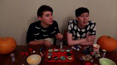 > Dan and Phil baking Halloween cupcakes when suddenly their lights flicker out. <
