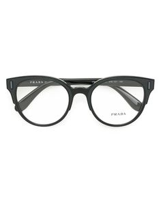 768e8aa6fc Prada - Black Rounded Cat Eye Glasses - Lyst
