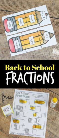 FREE Back to School Fraction Games for Comparing Fractions - Firsties Math - FREE Back to School Fractions – hands on activities to understand fractions, roll and cover fract - Comparing Fractions, Teaching Fractions, Fractions Worksheets, Math Fractions, Teaching Math, Free Worksheets, Math Math, Fraction Activities, Graphing Activities