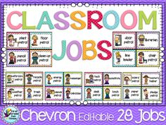 Classroom Jobs - Chevron - fully editable with lots of options