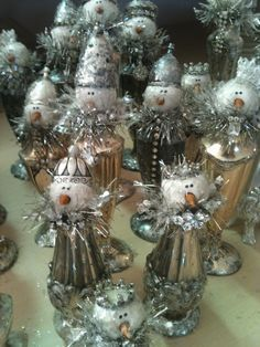 johanna parker birds | Glitzy snowmen made from salt and pepper shakers for Glitterfest!
