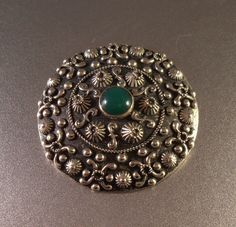 Peruzzi Sterling Chrysoprase Brooch by LynnHislopJewels on Etsy