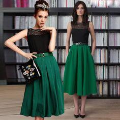 European American Style Women Floral Crochet Slim O-Neck Sleeveless Long Dress With Belt