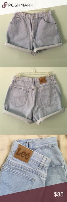 """Vintage high waisted light wash Lee denim shorts Gorgeous vintage light wash denim jean high waisted Lee shorts. Size 28. Rise 13.5"""", hips 22"""" across, leg opening 11"""" across, inseam unrolled is 4"""" (pictured rolled up. Can be made into cut offs.) Gorgeous light wash color! Tag says size 14 (don't know how accurate this is!) Color best shown in 1st and 3rd picture. So beautiful! ❄️ Lee Shorts Jean Shorts"""