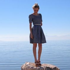 Handmade Blue Striped Dress