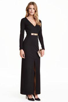 Long V-neck dress   H&M