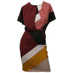 Preowned Fendi Multi Color Block Cap Sleeve Dress ($1,395) ❤ liked on Polyvore featuring dresses, multiple, multi colored dress, colorblock dress, burgundy red dress, burgundy dress and fendi