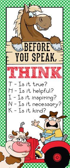 FARM Theme Classroom Decor / Before You Speak - THINK / Large / Character Counts / JPEG / ARTrageous FUN
