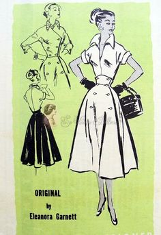 1950s Fantastic 3 Pc Pattern Plunging V Neck Blouse Wing Collar, High Midriff Full Skirt Wrap Around, Shortie Fitted Jacket, Prominent Designer 328 Factory Folded Bust 30