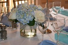 Bridal Shower Centerpiece - Tiffany Blue and White Flowers