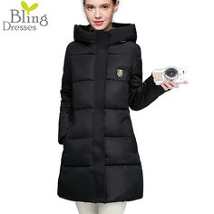 Super Deals Long Warm 90 Cotton Parka Down Jackets Winter Fashion Zipper Coat Women's Solid Color Hooded Cotton Padded Parkas #>=#>=#>=#>=#> Click on the pin to check out discount price, color, size, shipping, etc. Save and like it!