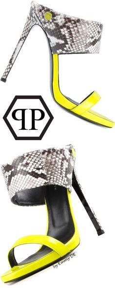 Emmy DE * PHILIPP PLEIN 'Reptilia' sandals #neon