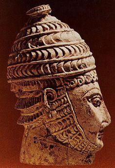 Ivory head of a warrior wearing a boar's tusk helmet, Mycenaean, Late Bronze Age (1600 - 1100 BC)