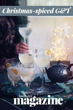Make this Christmas-spiced GT recipe your tipple of choice. Garnish each glass with slices of clementine and a corkscrew curl of peel for a nod to the festive party season Prosecco Cocktails, Festive Cocktails, Refreshing Cocktails, Christmas Cocktails, Summer Drinks, Christmas Recipes, Christmas Stuff, Christmas Ideas, Food Festival