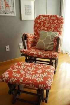 10 DIY Glider & Rocker Makeovers - the dark brown paint and reddish upholstry would work in the front room with the dark brown couch Recover Glider Rocker, Glider Rocker Cushions, Rocking Chair Cushions, Glider Chair, Glider Redo, Rocking Chairs, Glider Slipcover, Recover Chairs, Diy Chair