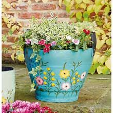Blue Recycled Tyre Planter