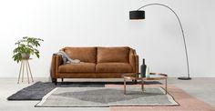 Ashwell 3 Seater Sofa, Outback Tan Leather | MADE.com
