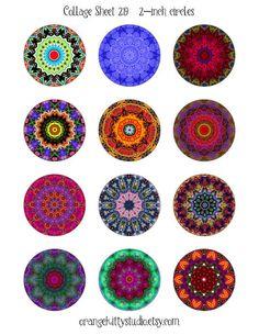 Digital collage sheet 2-inch circles #mandala #kaleidoscope for jewelry, art, crafts