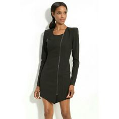 "Black Halo Lizzy asymmetrical zip dress Worn only once and has lived in my closet since! Size 6. Functional zip. Structured shoulders. Gorgeous!! Retails for $395 at Bloomingdale's. Black Halo's website describes as ""stretch garbadine mini jacket dress with structured shoulder pads and long sleeves with gunmetal zipper detail at cuff, center front and right breasted pocket. Black Halo Dresses Long Sleeve"