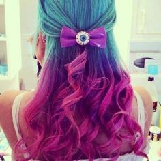 Turquoise to magenta Ombré hair with psychobilly/punk hair clip