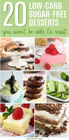 We've found some fun and tasty recipes like truffles, pie, cheesecake, donuts, ice cream and cookies for you to browse through and pick your new favorite dessert for your next celebration. Check out our 20 best low-carb sugar-free dessert recipes now and Diabetic Friendly Desserts, Diabetic Snacks, Diabetic Recipes, Low Carb Recipes, Diabetic Breakfast, Protein Recipes, Brownie Desserts, Mini Desserts, Low Carb Desserts