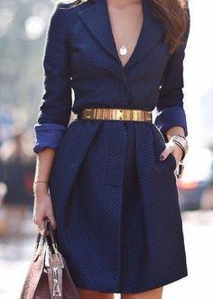 Vestido azul ejecutivo