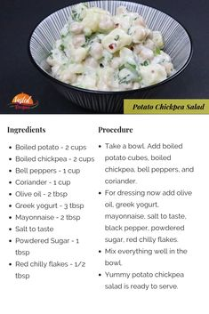 Potato chickpea salad is a lip-smacking salad with a tangy, sweet and sour taste. It is a vegan, protein-rich & vegan-free salad ready in just 15 minutes. Kid Veggie Recipes, Slaw Recipes, Indian Food Recipes, Beans Recipes, Noodle Recipes, Vegetarian Cooking, Vegetarian Recipes, Cooking Recipes, Cooking Tips