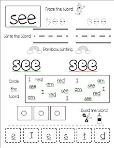 Printables Free Printable Worksheets For Kindergarten Sight Words kindergarten sight word worksheets for words worksheet