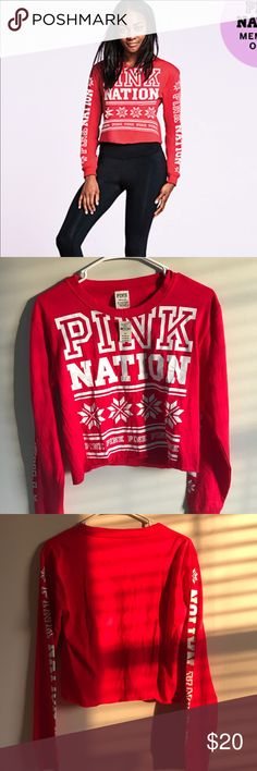 PINK Nation Campus cropped long sleeve tee [BRAND NEW] Size: small  Still has price tag, don't want to keep it because it's not really my style. Help find a new home for it! :) PINK Victoria's Secret Tops Tees - Long Sleeve