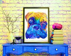 Boxer Dog colorful painting portrait art Print by OjsDogPaintings #dog #boxerdog #art #etsy