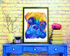 Boxer Dog colorful painting portrait art Print Orange blue painting home decor…