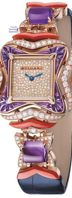 BVLGARI High Jewelry Timepiece from the Giardini Italiani collection Bvlgari Watches, Luxury Watches, Amazing Watches, Beautiful Watches, Objets Antiques, Ring Watch, Bracelet Watch, G Shock, High Jewelry