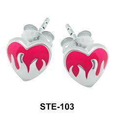 Enamel Heart Silver Stud Earrings. #earpiercing #jewelrypiercing #bodypiercing #piercing