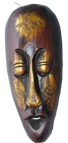 Fair Trade Handcarved Indigenous Borneo Tribal 'Gold' Mask. A lady commissioned us to make 220 of these for her wedding in Kota Kinabulu in Borneo.