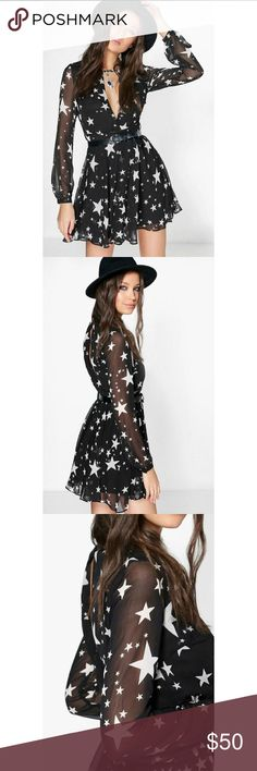 Boohoo Stela Star Print Wrap Skater Dress NWT never worn  *Stunning dress with gorgeous star print  *keyhole design in front and back  *sheer sleeves *100% polyester   Belt in modeled photos not included Boohoo Dresses Mini