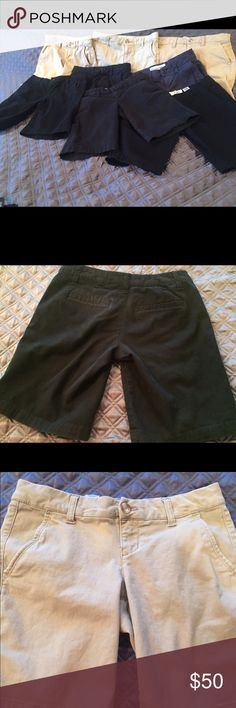 """Several Aeropostale shorts for sale size 000 & 0 I am selling Aeropostale Bermuda style shorts. Uniform approved. My daughter won't wear any other shorts and she has tried them all. 9"""" inseam. Gently used. 4 black 000, 3 stone 000, 1 navy 000, 2 pair of stone size 0. Selling all together. Shorts Bermudas"""