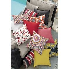 """Mosaic Shapes 20""""x13"""" Outdoor Pillow    Crate and Barrel"""
