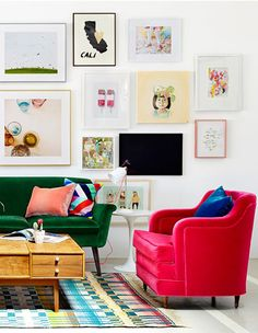 A pink accent chair is a great way to Decorating with Pink. Bold, bright and fun. Plus the velvet makes me smile.