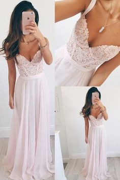 Long Chiffon Baby Pink Long Prom Dress A line Spaghetti Straps Lace Evening Dresses