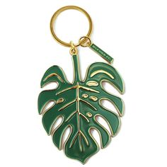 Monstera Leaf Keychain by Idlewild Co. // Crafted from an original painting, this slick ode to the tropical monstera leaf is artfully molded in gleaming brass and verdant green enamel. Definitely a fresh pick for your jangle of keys. Cute Keychain, Keychain Ideas, Leaf Jewelry, Resin Jewelry, Cute Cars, Mold Making, Gift Store, Beauty Essentials, Car Accessories
