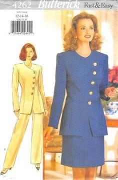 BUTTERICK 4262 - FROM 1995 - UNCUT - MISSES JACKET, SKIRT & PANTS