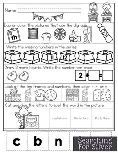 Morning Work for the month of February! Fun valentine's day-themed math and literacy activities that practice skills and give you more time for your day! Craft Activities For Kids, Kindergarten Activities, Preschool Classroom, Preschool Learning, Kids Crafts, Classroom Ideas, Kindergarten Morning Work, Fun Brain, English Worksheets For Kids